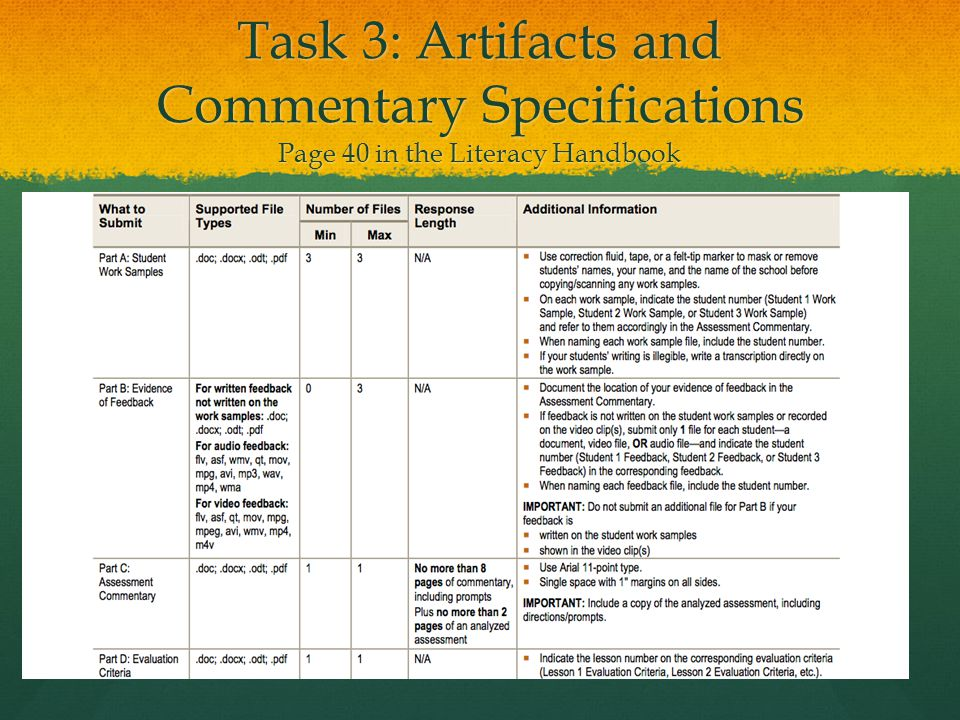 Task 3: Artifacts and Commentary Specifications Page 40 in the Literacy Handbook