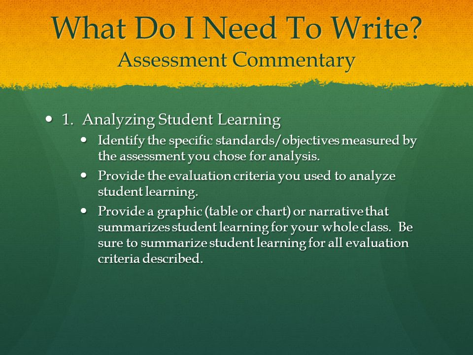 What Do I Need To Write Assessment Commentary