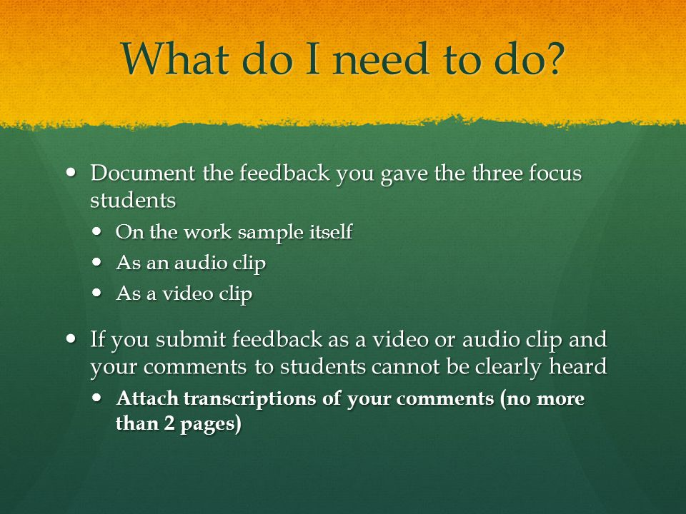 What do I need to do Document the feedback you gave the three focus students. On the work sample itself.