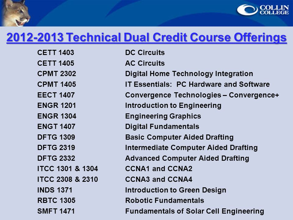 Technical Dual Credit Course Offerings