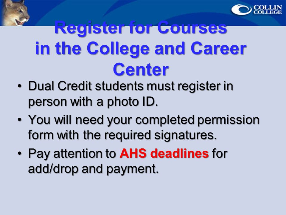 Register for Courses in the College and Career Center