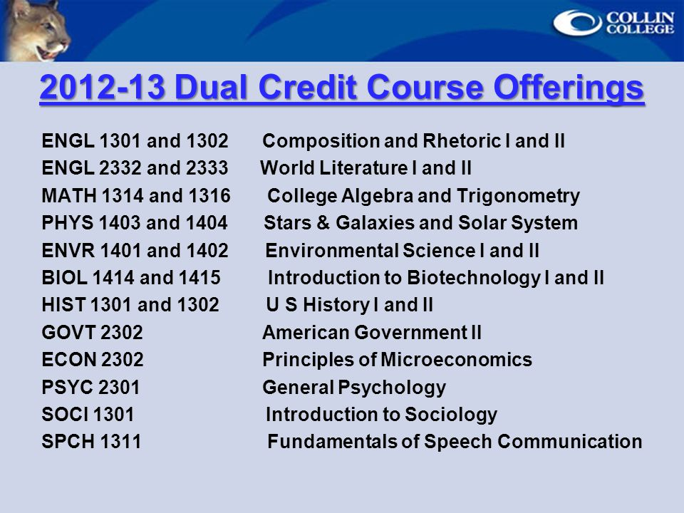 Dual Credit Course Offerings