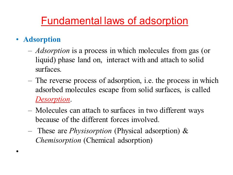 Fundamental laws of adsorption