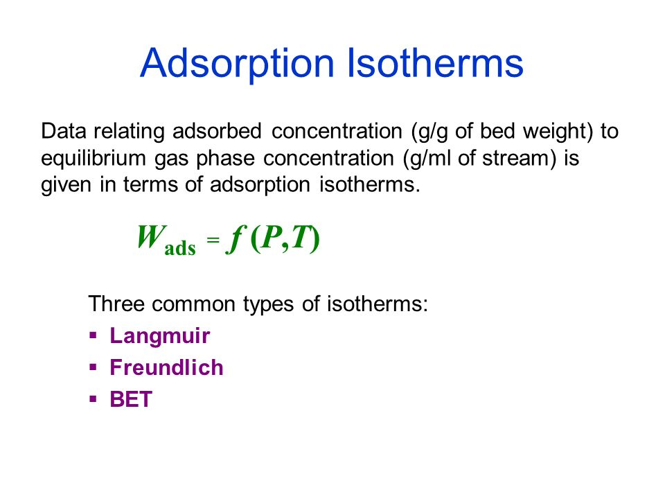 Adsorption Isotherms Wads = f (P,T)