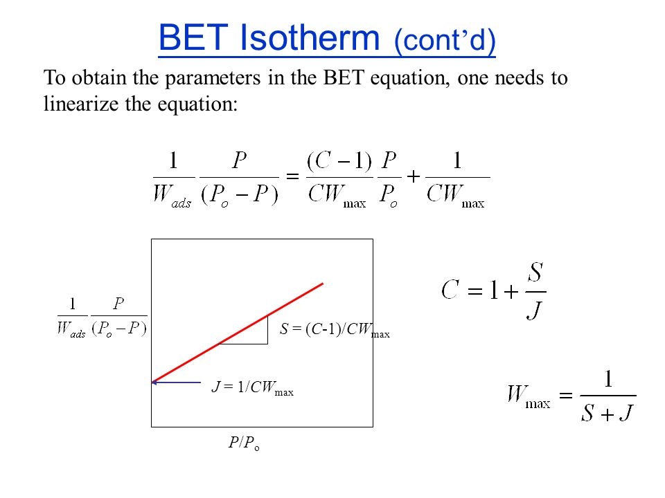 BET Isotherm (cont'd) To obtain the parameters in the BET equation, one needs to linearize the equation: