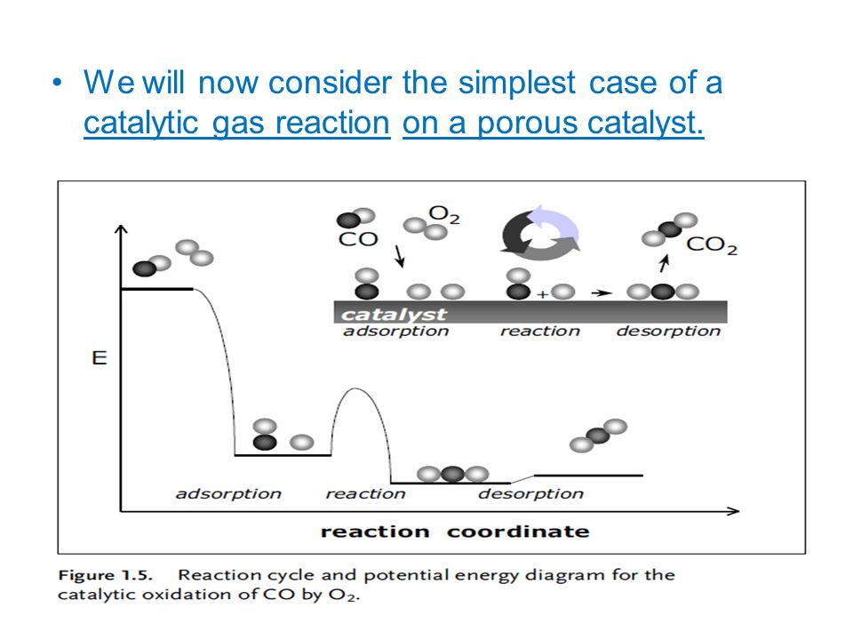 We will now consider the simplest case of a catalytic gas reaction on a porous catalyst.
