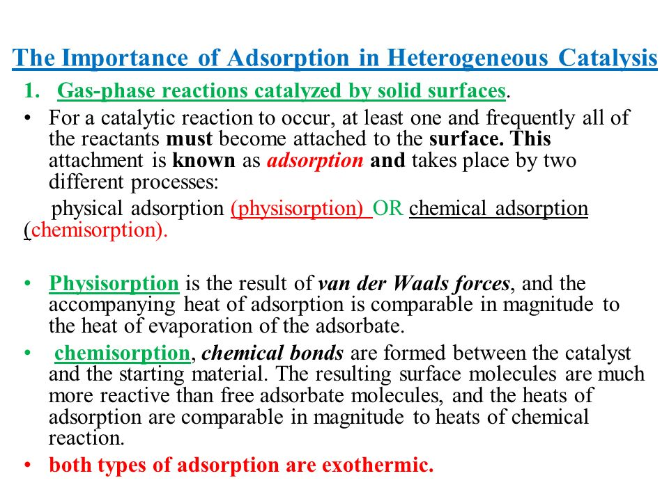 The Importance of Adsorption in Heterogeneous Catalysis