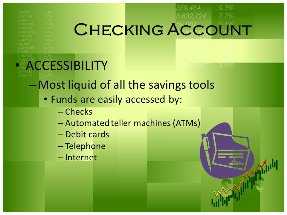 Checking Account ACCESSIBILITY Most liquid of all the savings tools