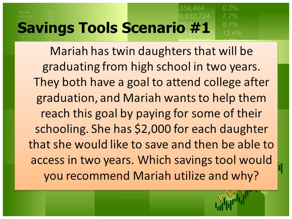 Savings Tools Scenario #1