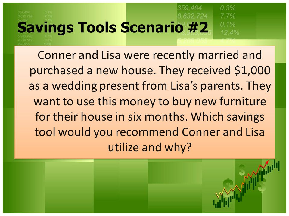 Savings Tools Scenario #2