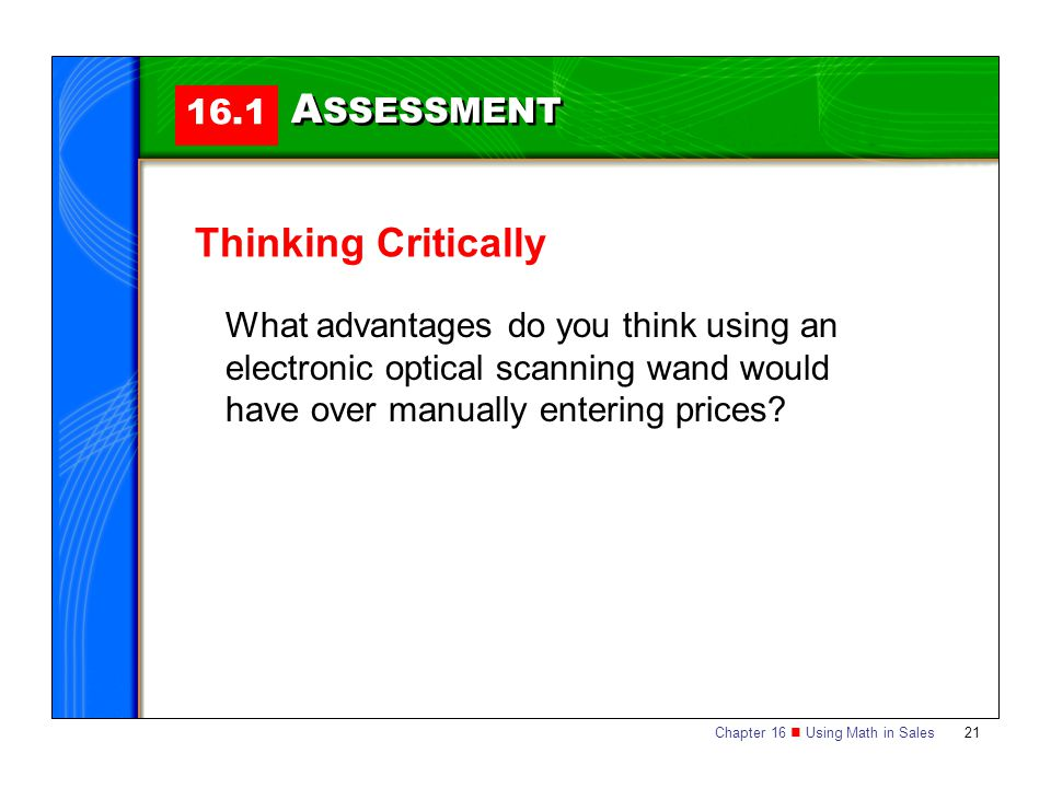 ASSESSMENT Thinking Critically 16.1