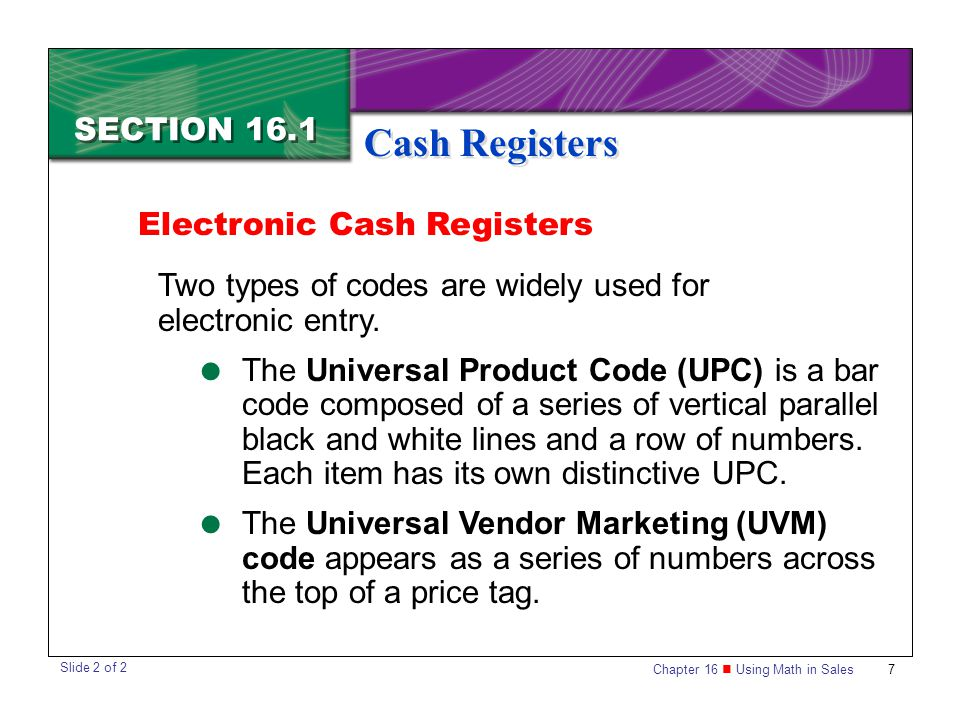 Cash Registers SECTION 16.1 Electronic Cash Registers