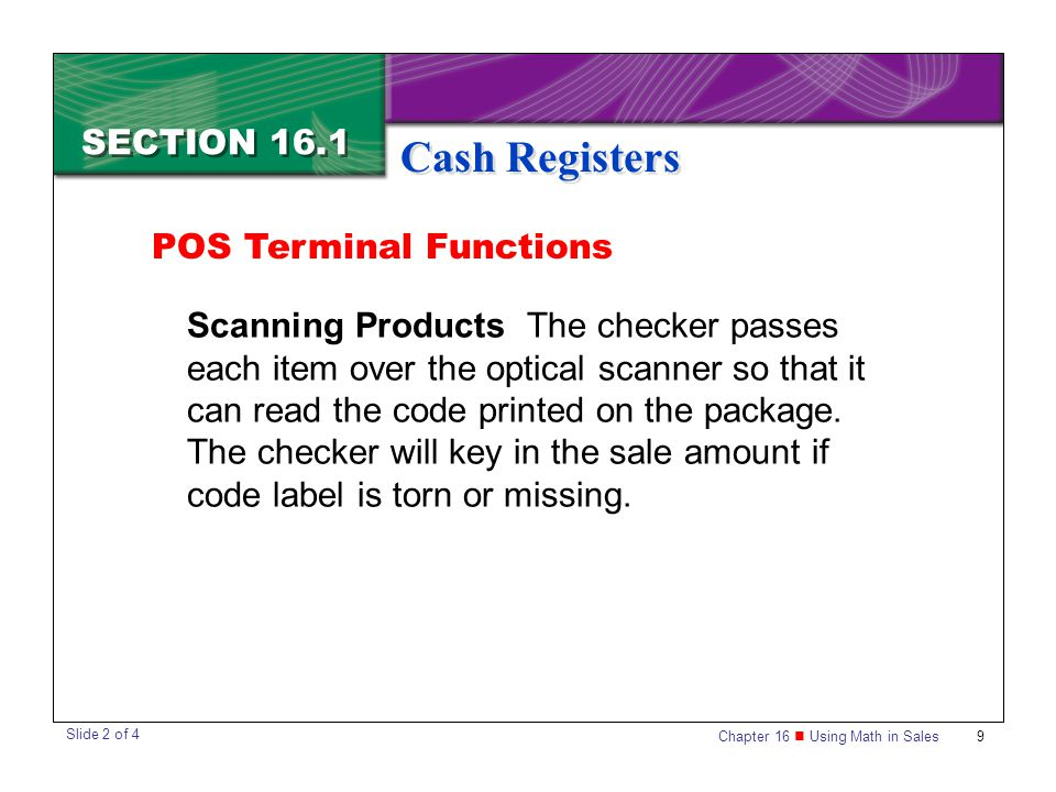 Cash Registers SECTION 16.1 POS Terminal Functions