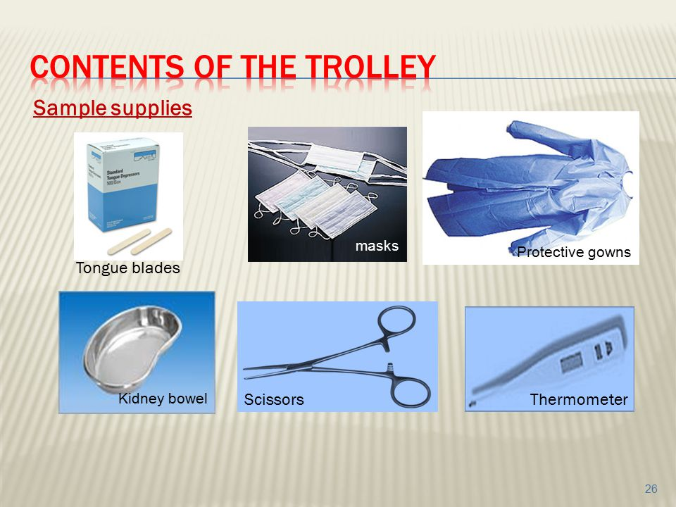Contents of the trolley
