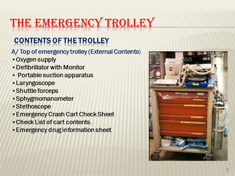 The emergency trolley contents of the trolley