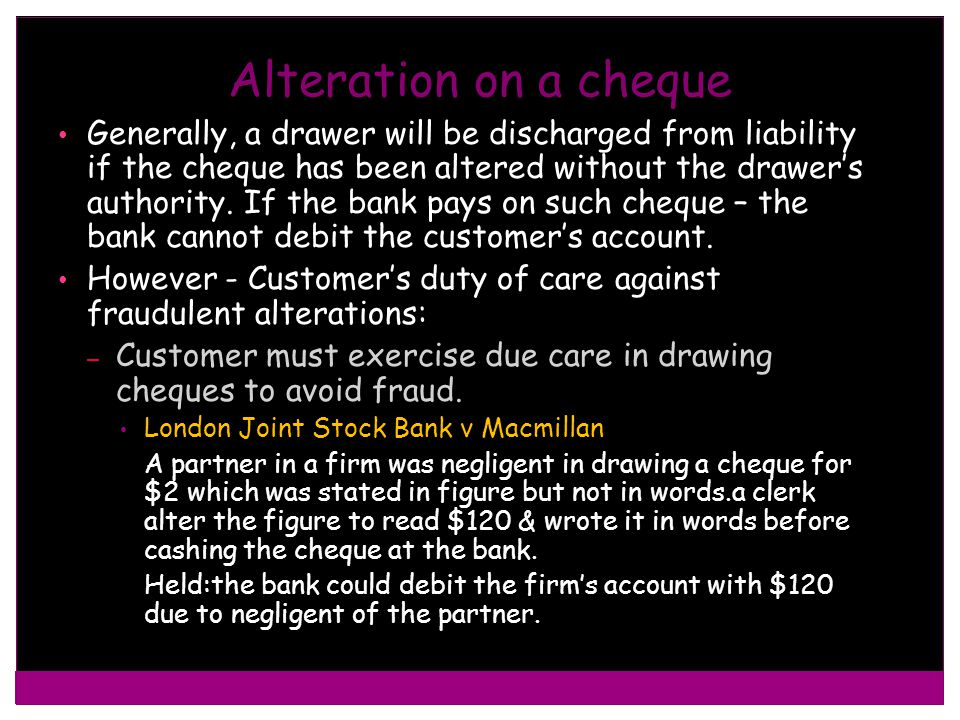 Alteration on a cheque