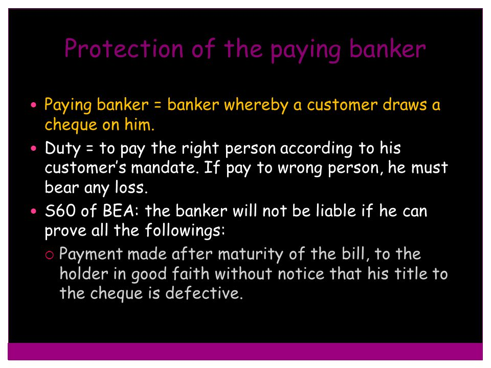 Protection of the paying banker