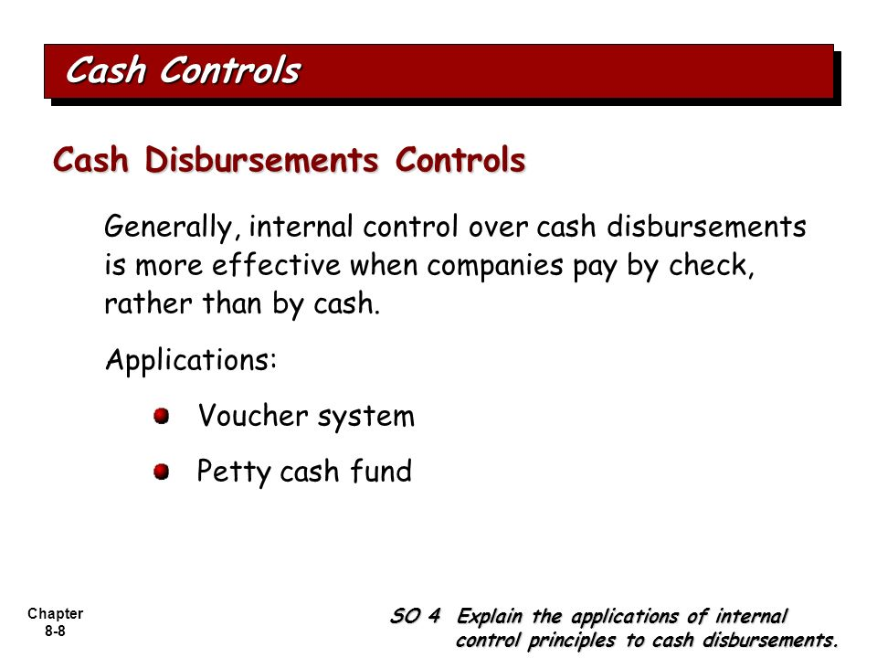 internal controls over cash disbursements Let's now discuss the various internal controls over cash it's the most  we have  to really be prepared to watch both our receipts and disbursements in receipts.