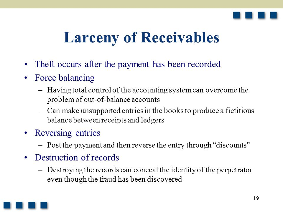 Larceny of Receivables
