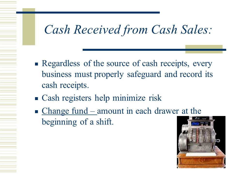 Cash Received from Cash Sales: