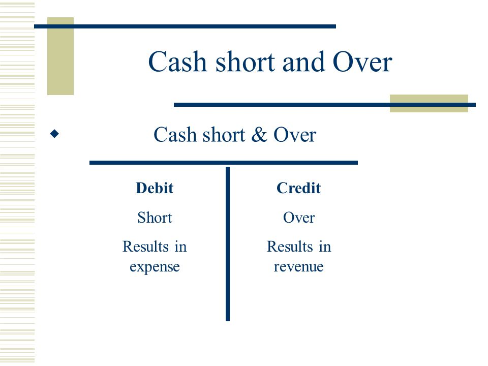 Cash short and Over Cash short & Over Debit Short Results in expense