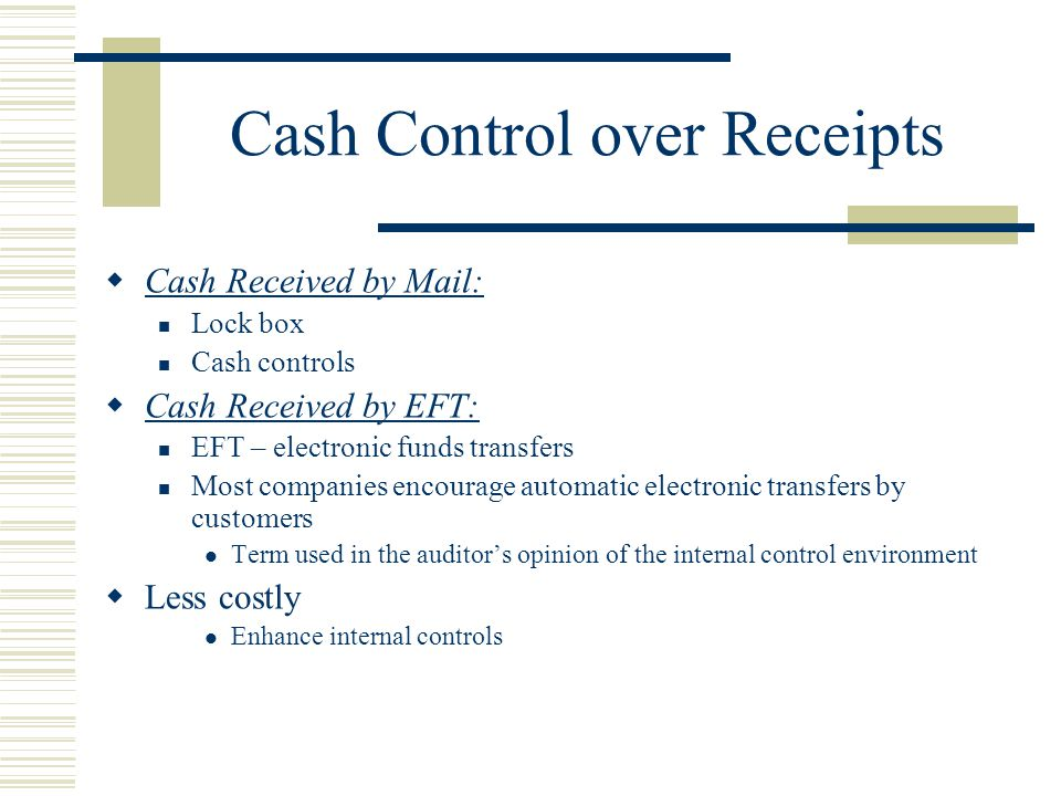 control of cash receipts Cash management gfoa recommended practice applicable in canada revenue policy: cash receipts controls (2007) (cash) background.
