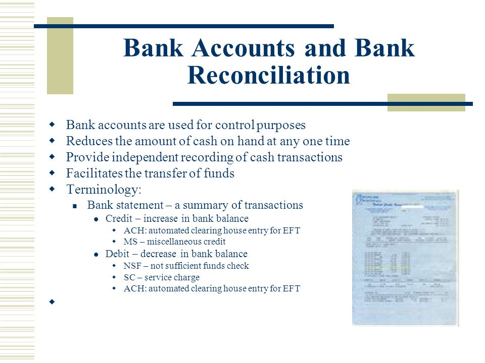 Bank Accounts and Bank Reconciliation