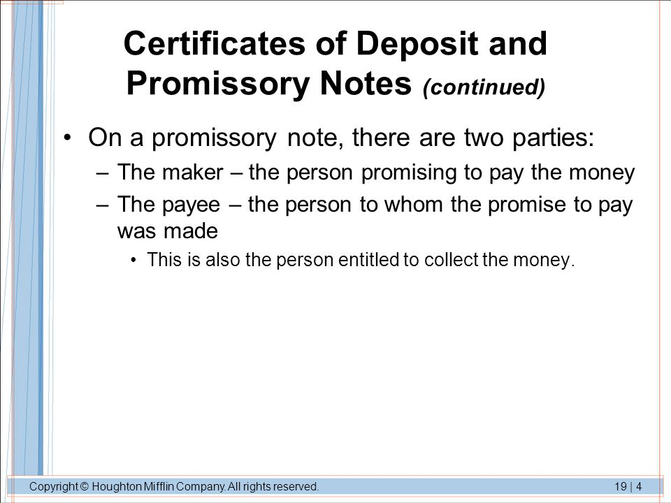 Nature and Types of Negotiable Instruments ppt video online download – Promissory Note Parties
