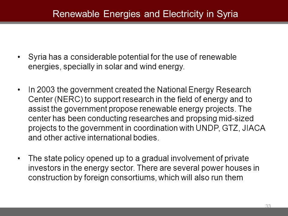 Renewable Energies and Electricity in Syria