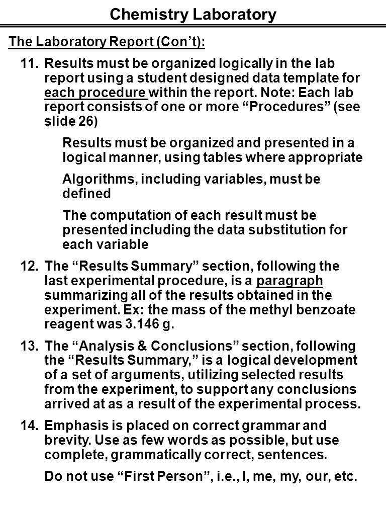 chemistry laboratory report essay