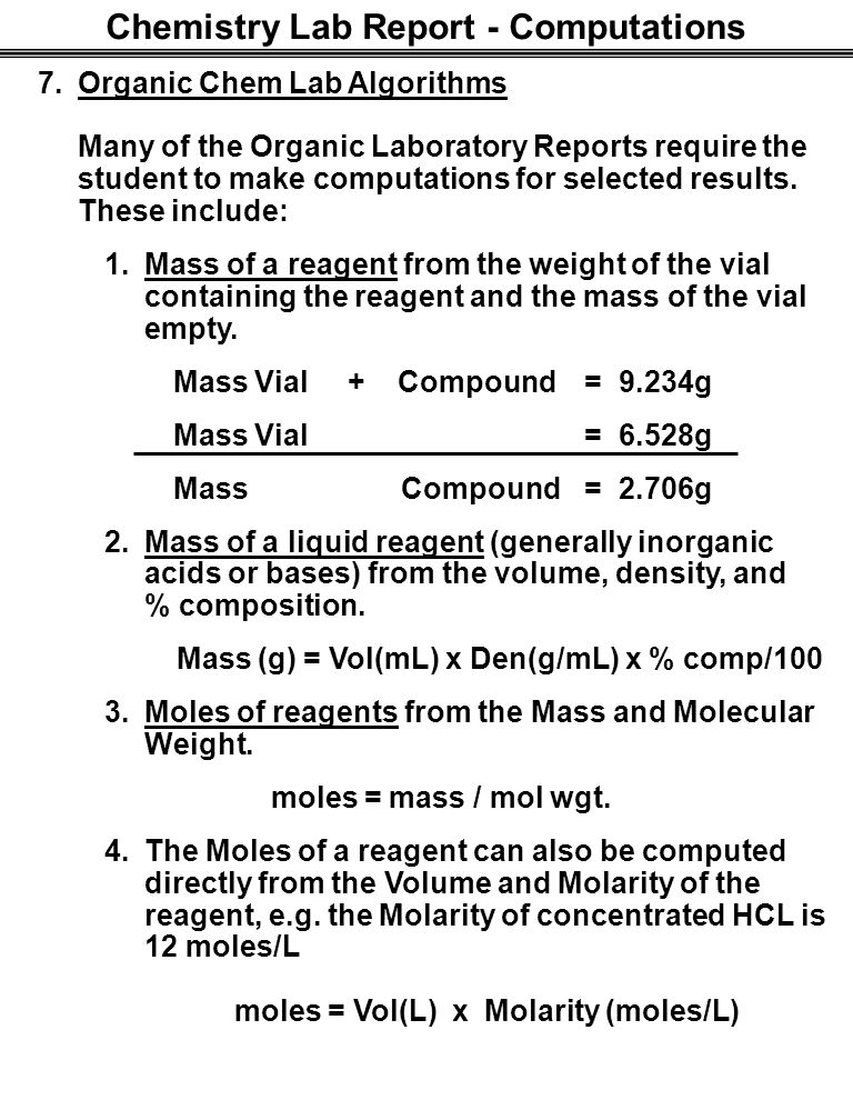 organic compounds lab report