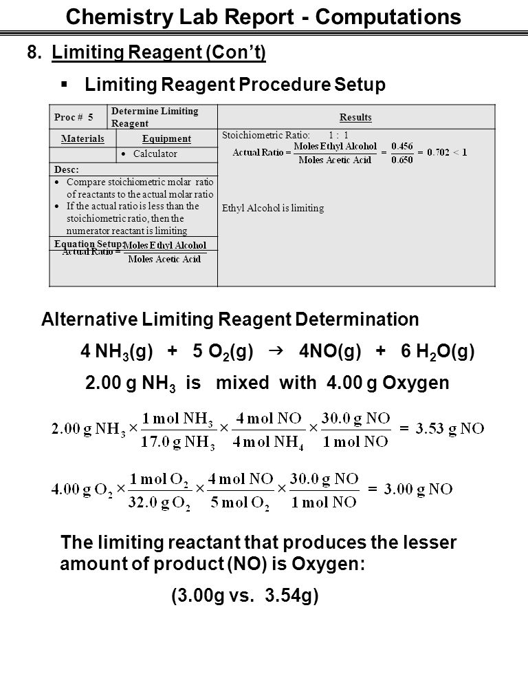 limiting reactant lab report The general chemistry i lab student will write to formal lab report to show the mastery of the application of the scientific method from experimentally determining.