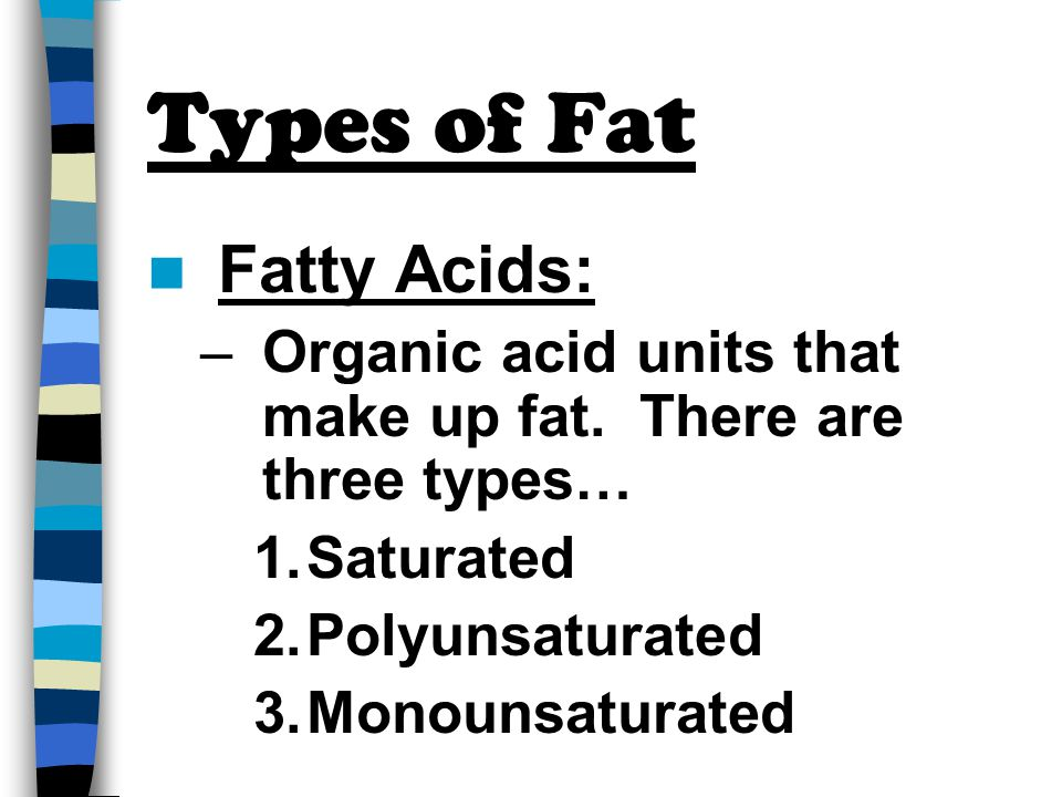 Types of Fat Fatty Acids: