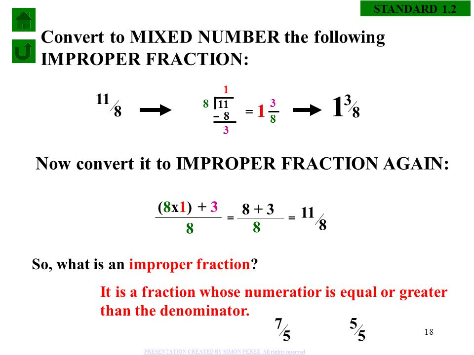 how to change improper fraction to similar fraction