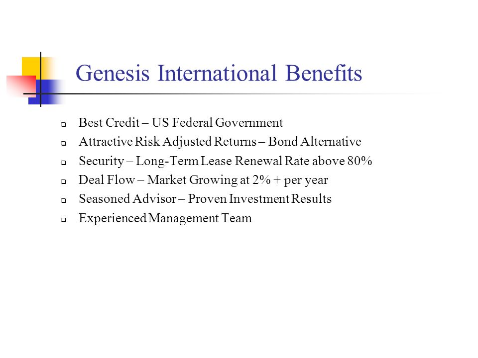 Genesis International Benefits