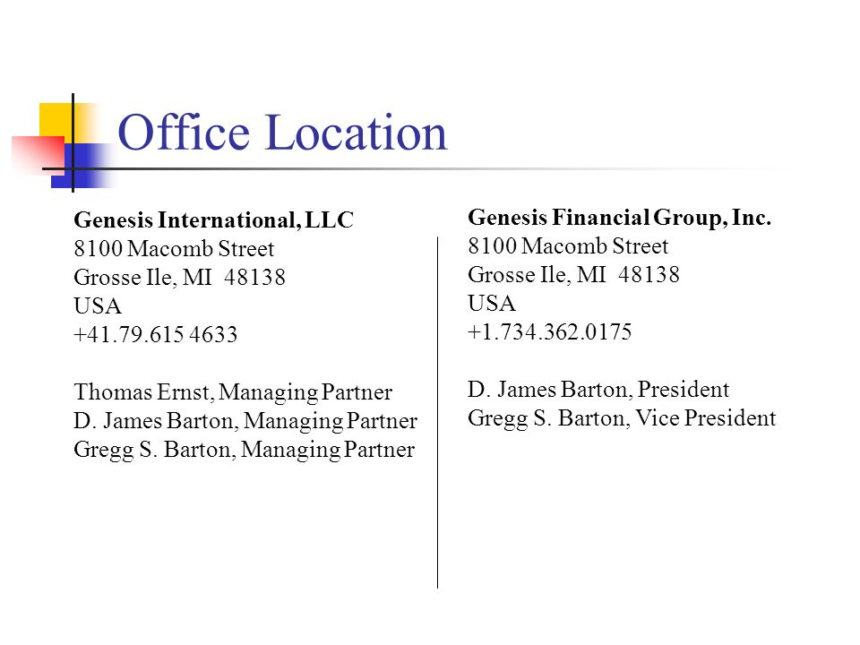Office Location Genesis International, LLC