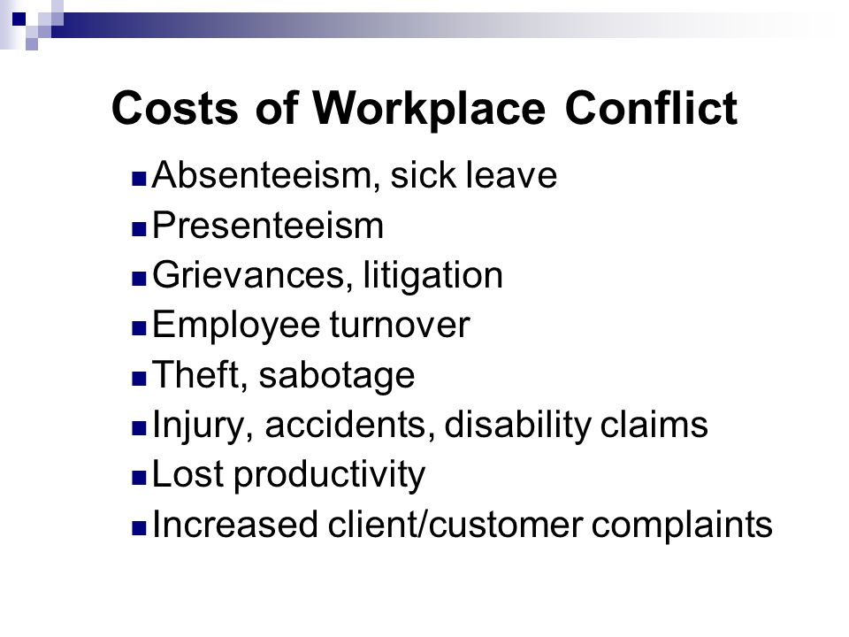 costs of workplace conflicts essay Examining the role of workplace-sector shifts in explaining labor demand  changes i find  therefore a different cost when entering the conflict.