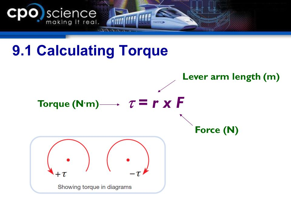 t = r x F 9.1 Calculating Torque Lever arm length (m) Torque (N.m)