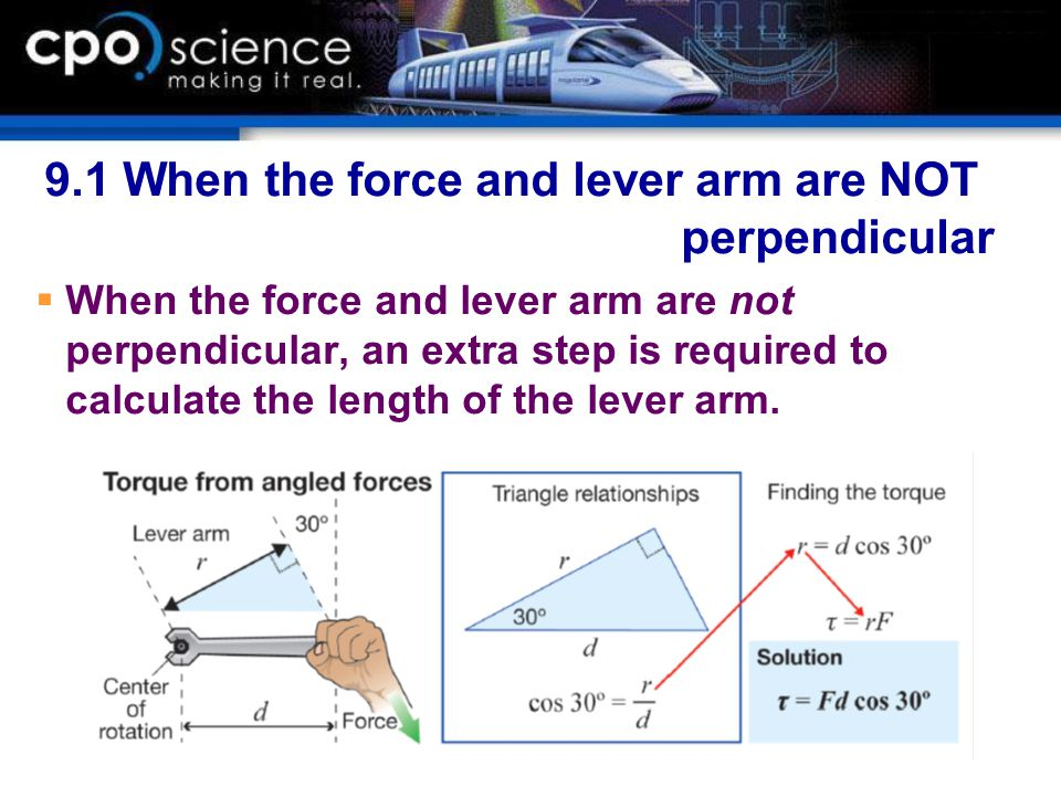 9.1 When the force and lever arm are NOT perpendicular