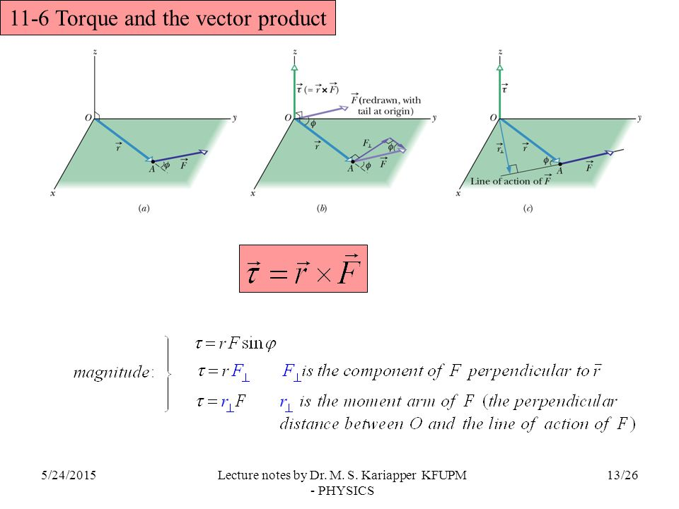 11-6 Torque and the vector product