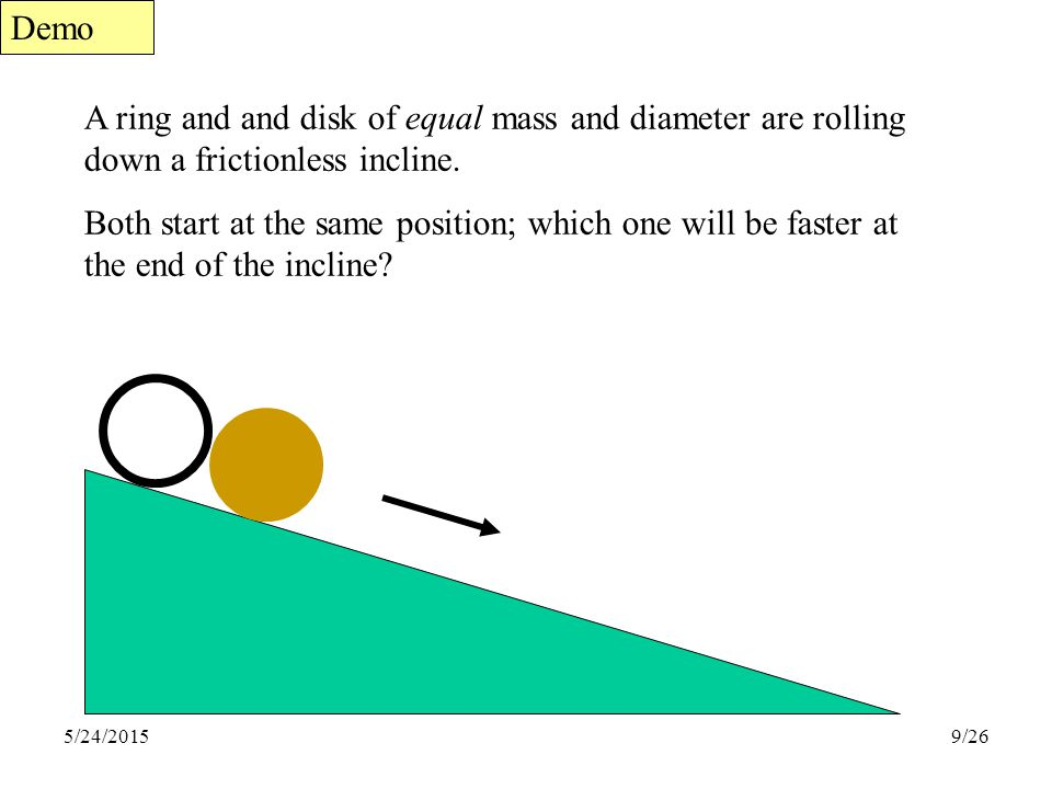 Demo A ring and and disk of equal mass and diameter are rolling down a frictionless incline.