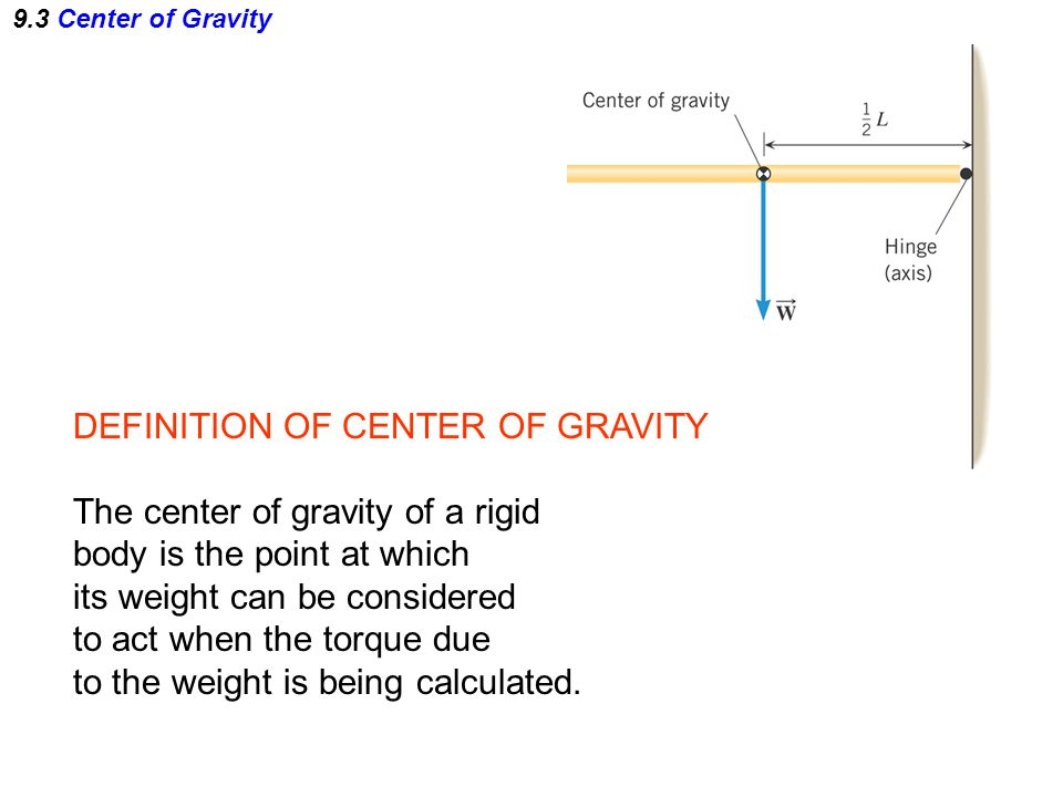 DEFINITION OF CENTER OF GRAVITY The center of gravity of a rigid