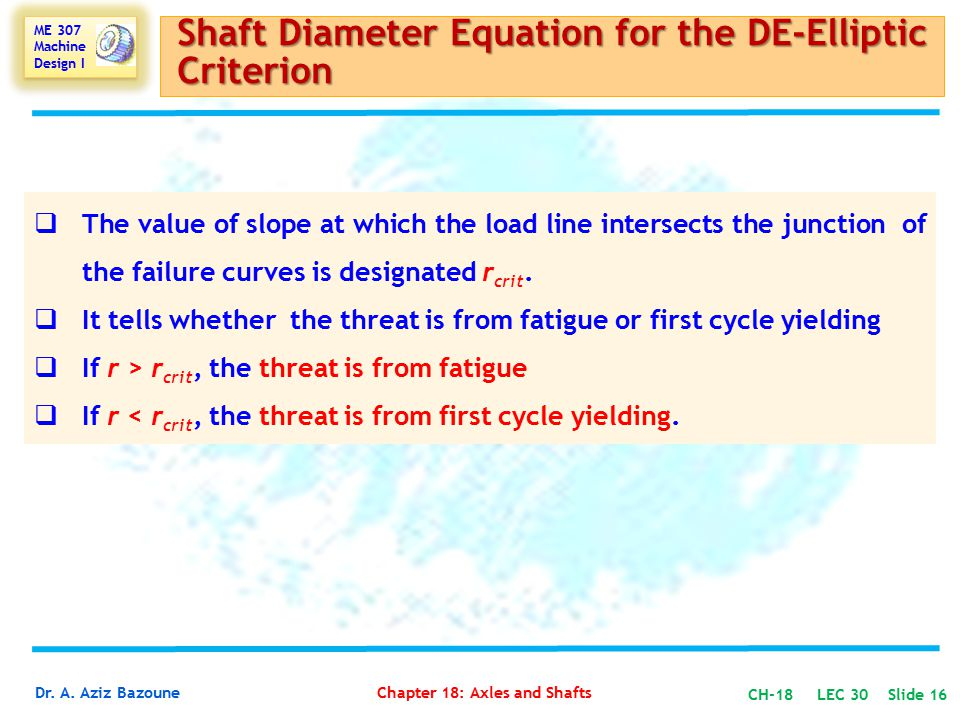 Shaft Diameter Equation for the DE-Elliptic Criterion