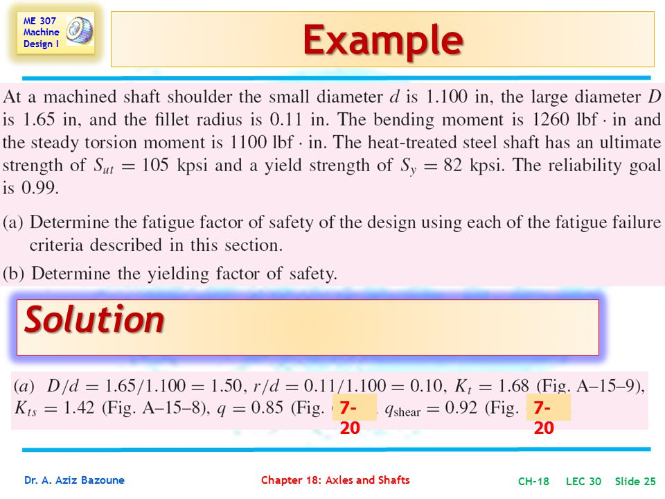 Example Solution 7-20 7-20 CH-18 LEC 30 Slide 25