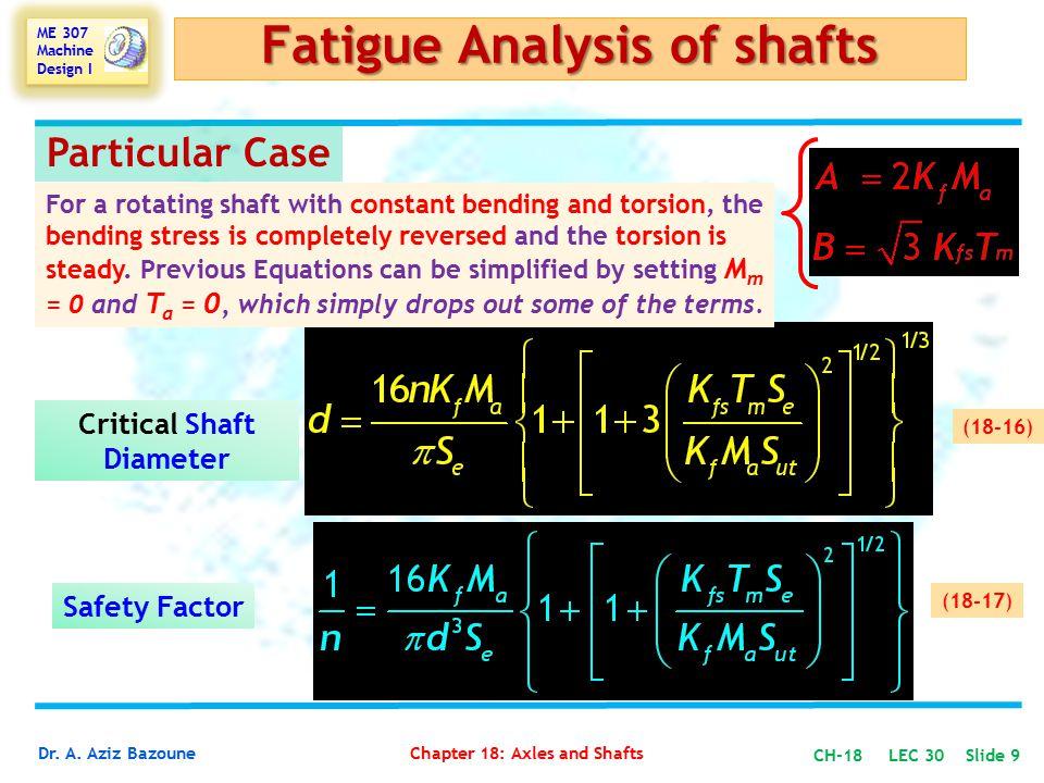 Fatigue Analysis of shafts Critical Shaft Diameter