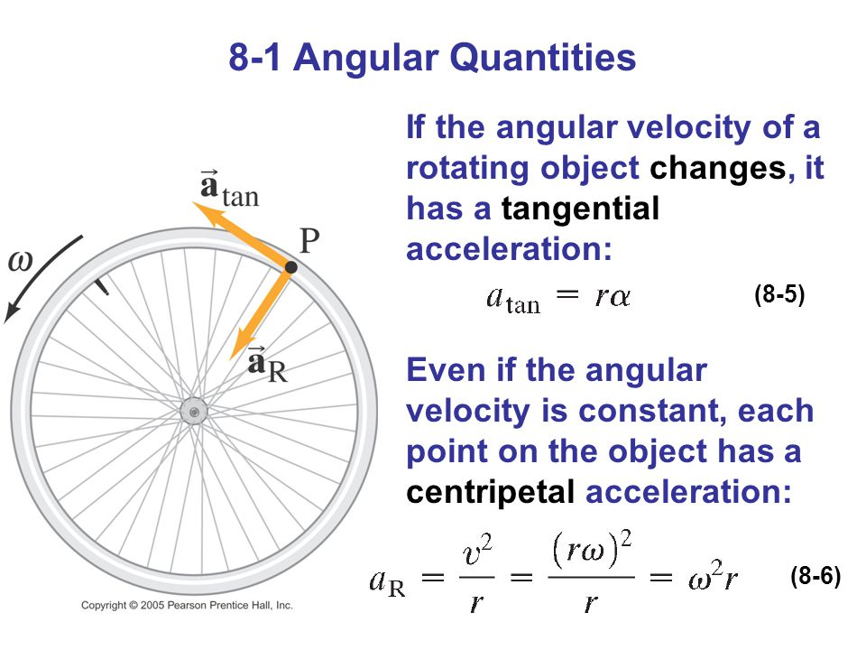 8-1 Angular Quantities If the angular velocity of a rotating object changes, it has a tangential acceleration: