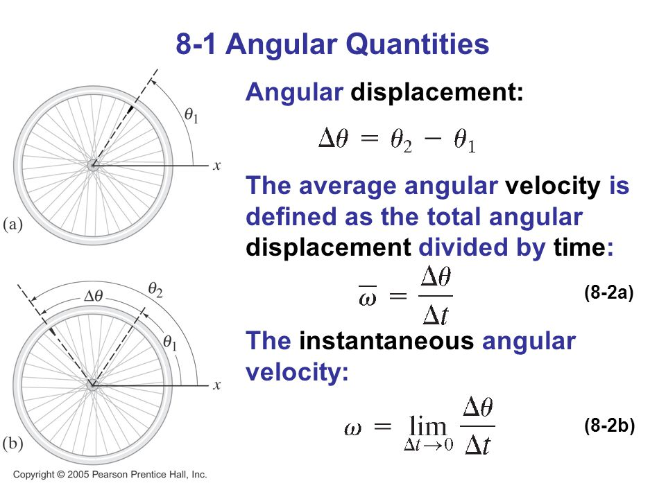 8-1 Angular Quantities Angular displacement: