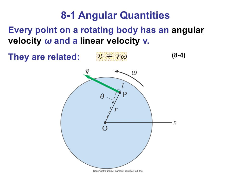 8-1 Angular Quantities Every point on a rotating body has an angular velocity ω and a linear velocity v.
