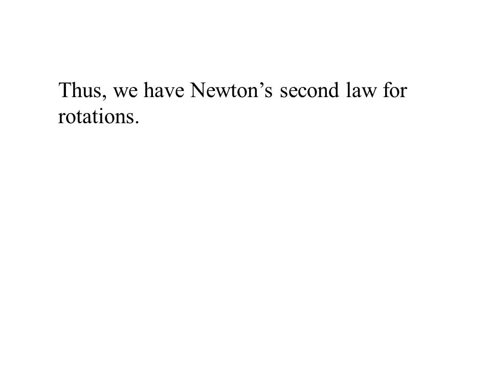 Thus, we have Newton's second law for rotations.