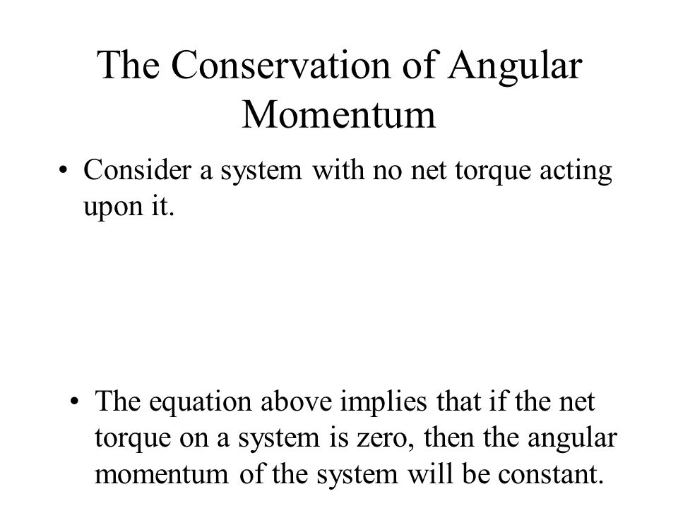 The Conservation of Angular Momentum